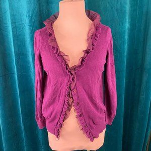 Ann Taylor Ruffle Lace Button Front Cardigan